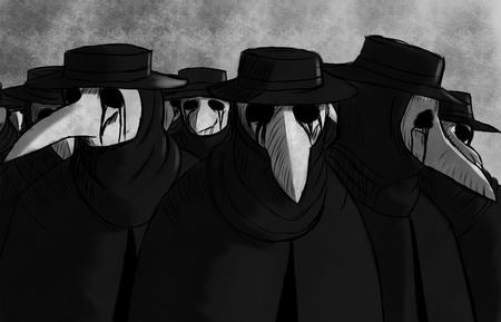 bw cloak group hat mask plague plauge_doctor // 2959x1900 // 2.9MB