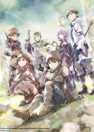 boots bow brown_hair brunette cleric dnd fighter gloves group hai_to_gensou_no_grimgar purple_hair ranger redhead shihoru sword thief wizard yume // 2500x3508 // 939.2KB