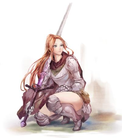 armor blonde blue_eyes cape crossguard gauntlets greaves ponytail short_skirt skirt sword // 889x1000 // 730.4KB