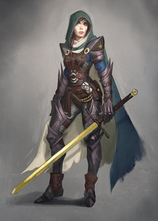 armor blue_eyes brunette cape crossguard gauntlets hood pauldrons sword // 500x699 // 78.7KB