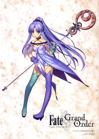 blue_eyes boots caster dress elf fate gloves long_hair ponytail purple_hair staff thighhighs // 2872x4022 // 1.2MB