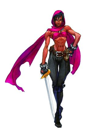 boots brunette crossguard dnd gloves scarf sword thief // 2687x3445 // 3.7MB