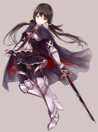 brunette cape crossguard greaves long_hair short_skirt skirt sword twintails // 668x900 // 361.2KB