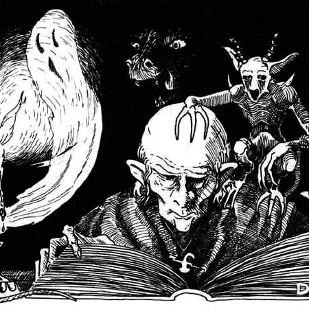 bald book bw dnd ghost imp wizard // 458x458 // 78.6KB