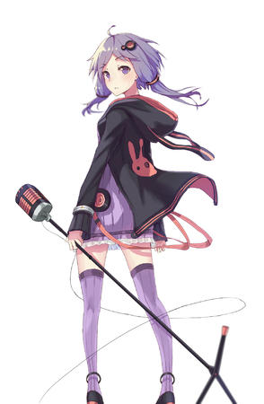 dress hood microphone purple_eyes purple_hair sweatshirt thighhighs // 1254x1920 // 741.3KB