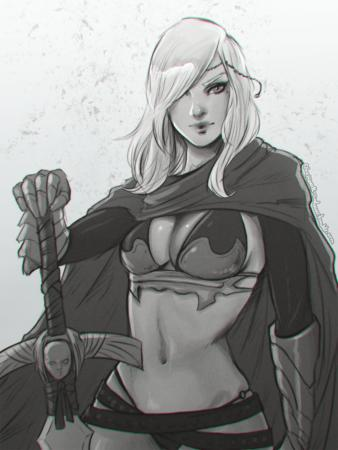barbarian bikini blonde bw cape cleavage crossguard gauntlets sword // 960x1280 // 1.9MB