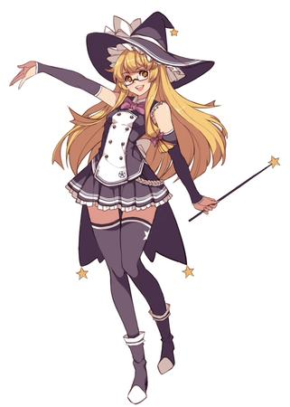 blonde glasses hat long_hair pleated_skirt short_skirt skirt thighhighs wand witch // 714x1000 // 194.9KB