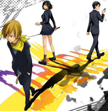cellphone durarara group jacket pleated_skirt scarf school_uniform short_skirt skirt sonohara_anri // 782x800 // 407.2KB