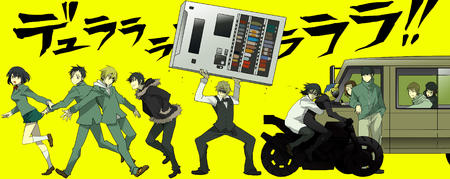 blonde bowtie brunette celty durarara glasses group helmet jacket lab_coat motorcycle school_uniform shizuo short_skirt skirt sonohara_anri sunglasses sweatshirt van vending_machine vest // 4000x1590 // 1.0MB