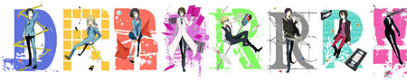 blonde bowtie brunette celty cigarette durarara glasses group jacket lab_coat school_uniform shizuo short_skirt skirt sonohara_anri sunglasses sweatshirt vest // 4350x825 // 1.0MB