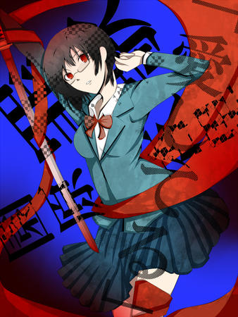 bowtie brunette durarara glasses jacket katana pleated_skirt red_eyes school_uniform short_skirt skirt sonohara_anri sword // 600x800 // 613.2KB