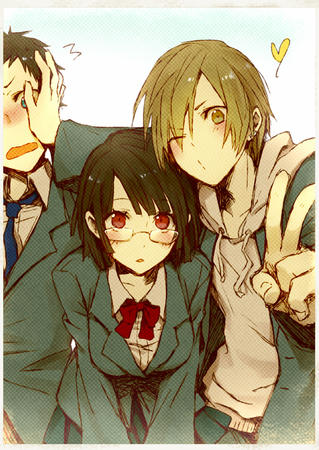 blonde brunette durarara glasses group jacket red_eyes school_uniform sonohara_anri sweatshirt // 708x1000 // 466.9KB