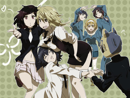 blonde brunette durarara glasses group helmet pleated_skirt short_skirt skirt vest // 800x600 // 319.5KB