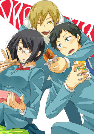 blonde brunette durarara glasses group jacket sandwich school_uniform sonohara_anri sweatshirt // 840x1200 // 310.9KB
