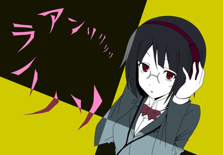 bowtie brunette durarara glasses headphones jacket red_eyes school_uniform sonohara_anri // 1300x900 // 315.3KB