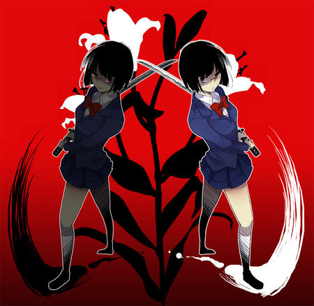 brunette durarara glasses jacket katana pleated_skirt red_eyes school_uniform short_skirt skirt sonohara_anri sword // 900x876 // 181.7KB