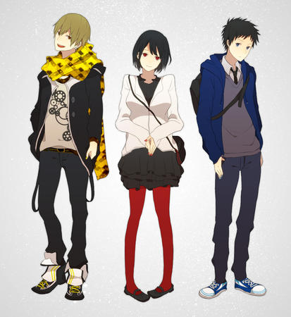 blonde brunette durarara glasses group red_eyes scarf skirt sonohara_anri sweatshirt // 1120x1220 // 807.5KB