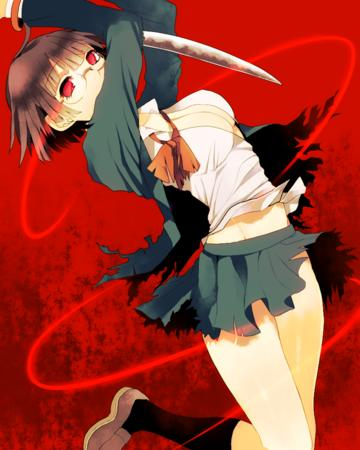 brunette cleavage durarara glasses jacket katana oppai pleated_skirt red_eyes ripped_clothes school_uniform short_skirt skirt sonohara_anri sword // 800x1000 // 3.1MB