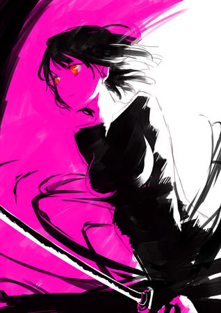 brunette durarara katana red_eyes sketch sonohara_anri sword // 566x800 // 177.1KB