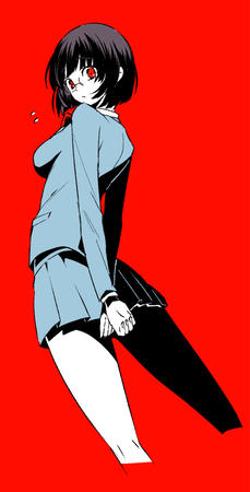 brunette durarara glasses jacket pleated_skirt red_eyes school_uniform short_skirt skirt sonohara_anri // 509x1000 // 174.6KB