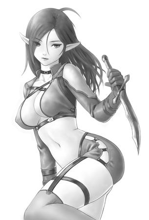 brunette bw cleavage crossguard dagger elf gloves short_shorts shorts thighhighs // 693x1024 // 180.9KB
