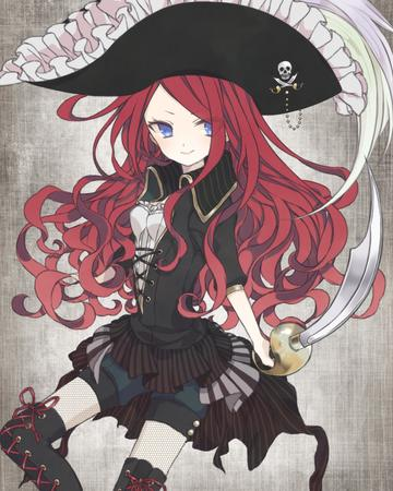 blue_eyes cutlass hat long_hair pirate redhead shorts sword thighhighs // 945x1181 // 1.4MB