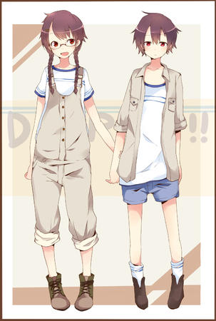 brunette glasses jacket overalls red_eyes shorts tee-shirt // 1000x1483 // 677.8KB