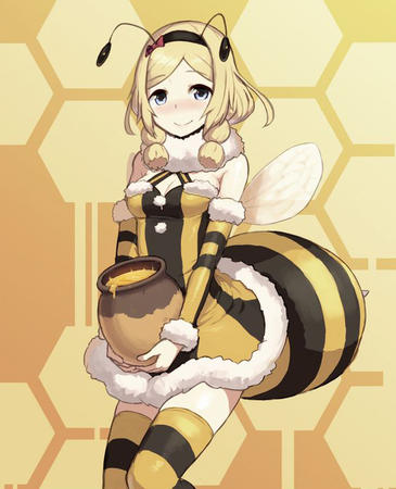 bee blonde blue_eyes honey thighhighs wings // 593x732 // 266.0KB
