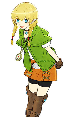blonde blue_eyes braids elf gloves shorts short_skirt skirt // 500x833 // 226.4KB