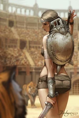 bikini_armor brunette gladiator shield short_skirt skirt sword // 1365x2048 // 168.8KB