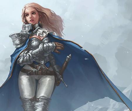 blonde cape cleavage gauntlets sword // 1143x960 // 61.6KB