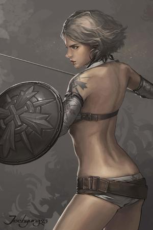 bare_shoulders bikini shield sword // 1365x2048 // 119.4KB