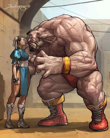 beard boots brunette capcom chun-li dress mohawk shorts street_fighter zangief // 1637x2048 // 248.4KB