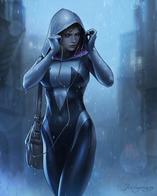 blonde hood jumpsuit marvel rain spider-gwen // 1639x2048 // 142.7KB