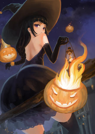 bare_shoulders braids brunette dress fire gloves hat jack-o-lantern lantern purple_eyes thighhighs witch // 2480x3508 // 2.3MB
