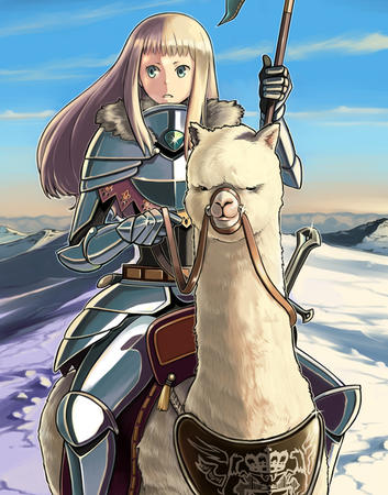 armor blonde blue_eyes gauntlets llama long_hair snow // 600x764 // 229.5KB