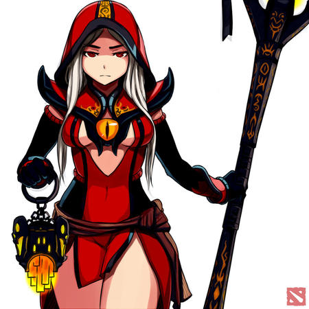 dota dress gloves hood lantern red_eyes short_skirt staff white_hair // 900x900 // 151.0KB