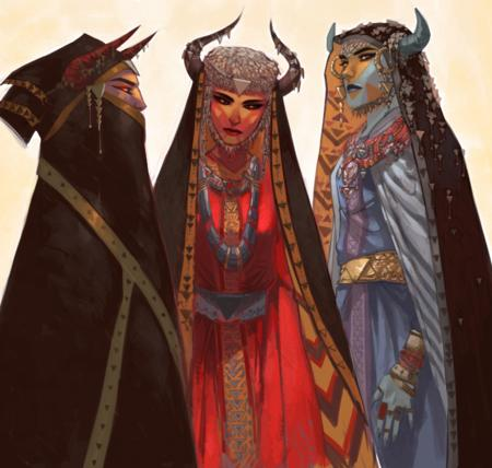cape demon dress group hood horns veil // 750x714 // 856.7KB