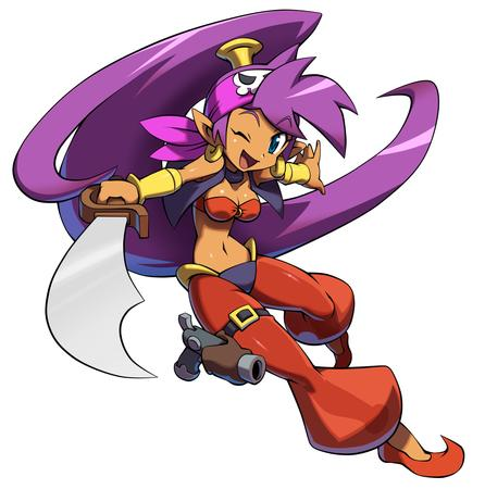 bare_shoulders bellydancer blue_eyes dbg djinni elf gun harem_pants long_hair pirate pistol ponytail purple_hair scarf shantae sword vest wink // 980x989 // 253.3KB