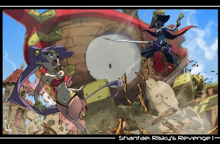bare_shoulders bellydancer blue_eyes dbg djinni elf gun harem_pants hat long_hair pirate pistol ponytail purple_hair shantae sword // 2010x1319 // 1.1MB