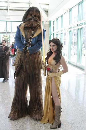 beast belle boots brunette chewbacca cosplay disney dress gloves jacket lightsaber star_wars // 500x750 // 50.4KB