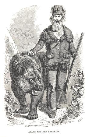 bear beard bw etching grizzly_adams hat rifle // 717x1106 // 205.0KB
