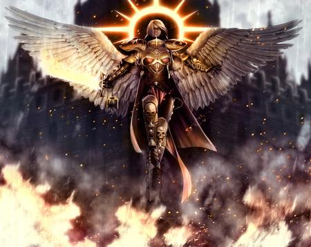 adeptus_sororitas angel armor blonde fire halo skulls sword wh40k wings // 1129x899 // 2.1MB