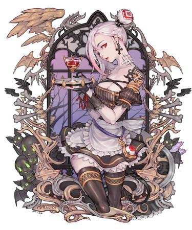 bones cleavage gloves maid red_eyes short_skirt skirt skulls thighhighs white_hair wine // 850x1021 // 353.0KB
