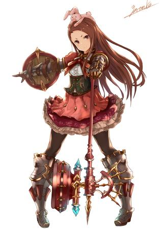 brunette dress hammer idol_master long_hair oversized_weapon pink_eyes rabbit shield // 2480x3507 // 985.1KB