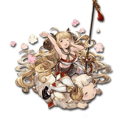 blonde cleavage glaive horns oppai pleated_skirt polearm ram sandals sheep short_skirt skirt thighhighs // 480x471 // 72.3KB