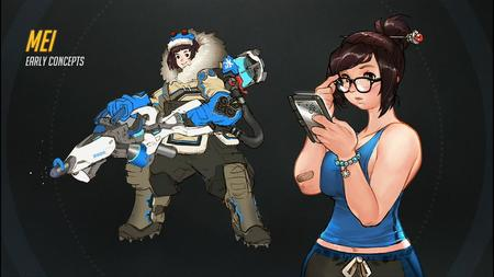 boots brown_eyes brunette glasses jacket mei overwatch tank_top // 1920x1080 // 228.6KB