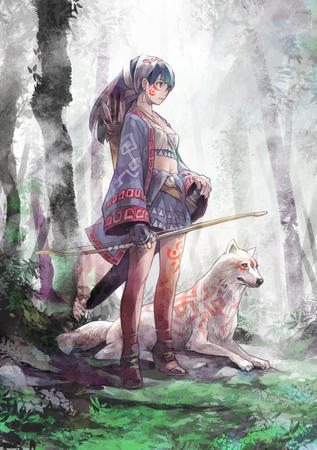 arrows blue_hair bow forest gloves short_skirt skirt wolf // 820x1165 // 775.1KB