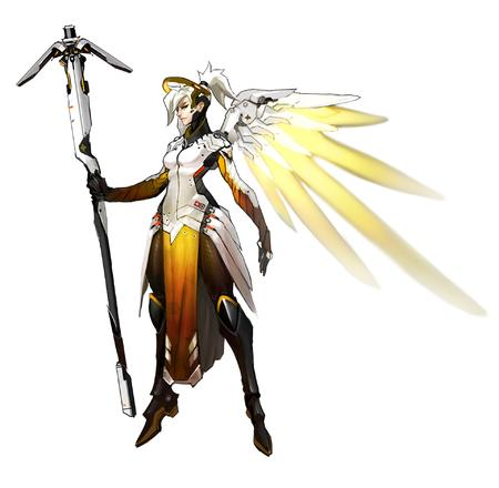 blonde blue_eyes halo mercy overwatch staff wings // 1920x1879 // 202.6KB