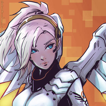 blonde blue_eyes mercy overwatch wings // 1024x1024 // 829.6KB